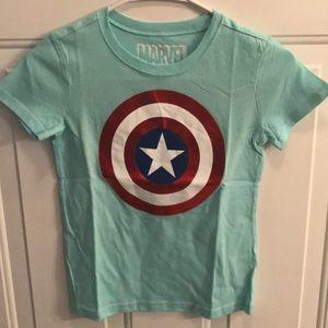 Marvel Captain America Girls Blue Tee Shirt - NWOT